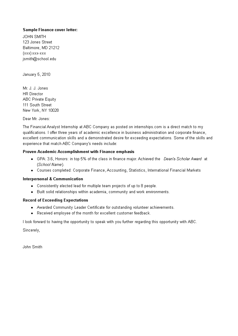 internship cover letter finance job