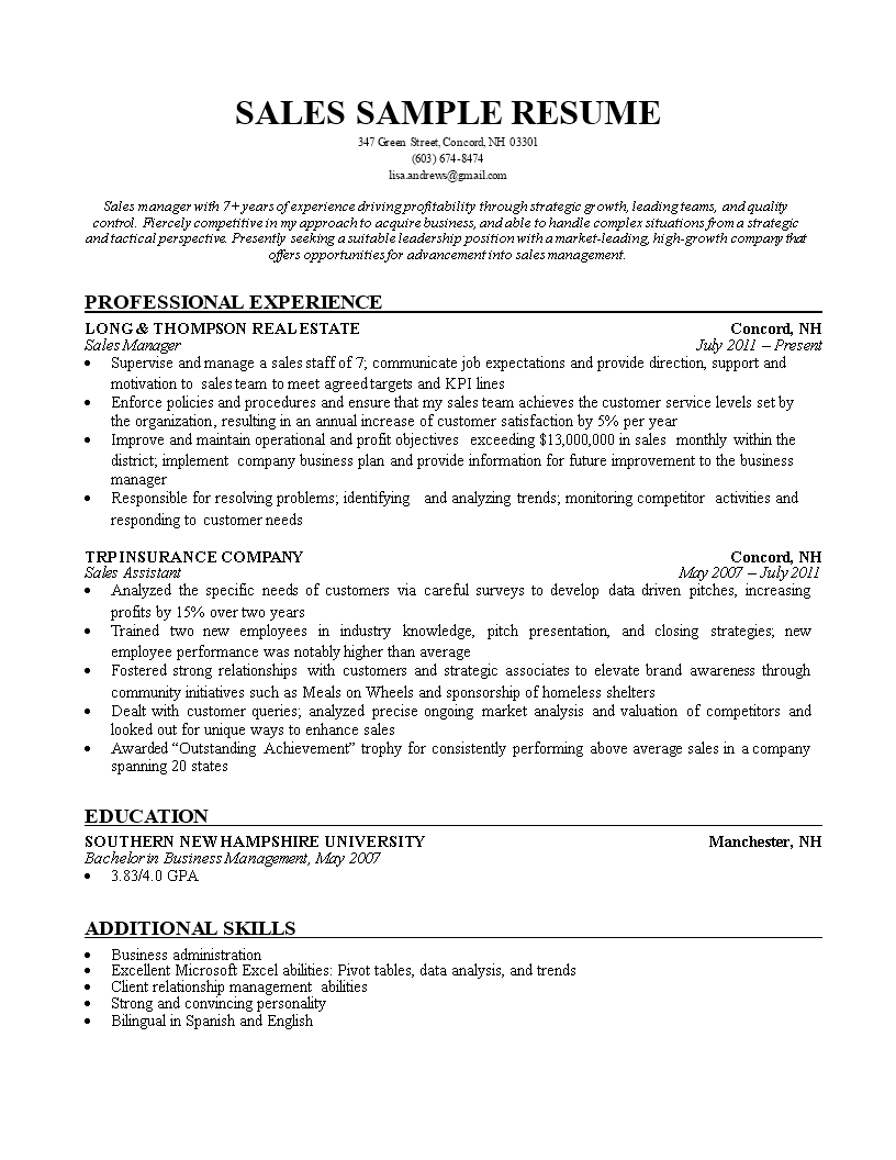 Sales Insurance Agent Resume main image