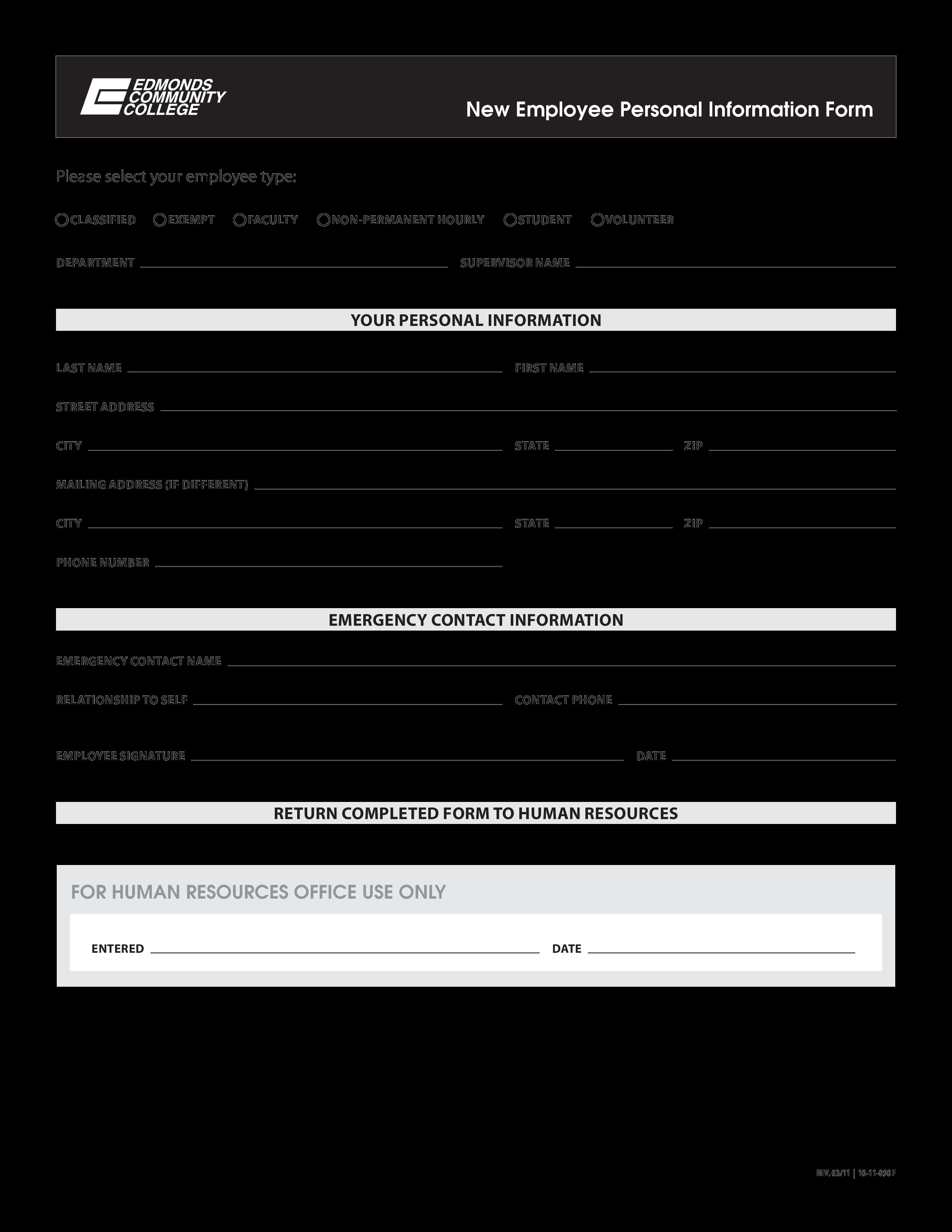 free personal information sheet templates at