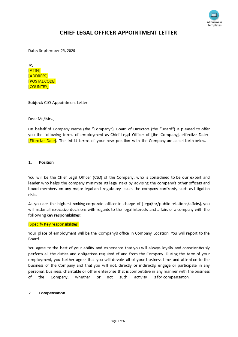 Chief Legal Officer (CLO) Appointment Letter main image