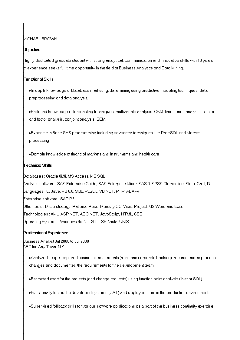Banking Business Analyst Resume example main image