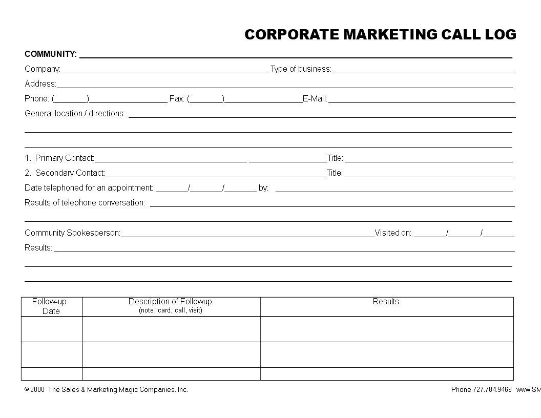 Free Marketing Corporate Call Log In Word Templates At - Marketing log template