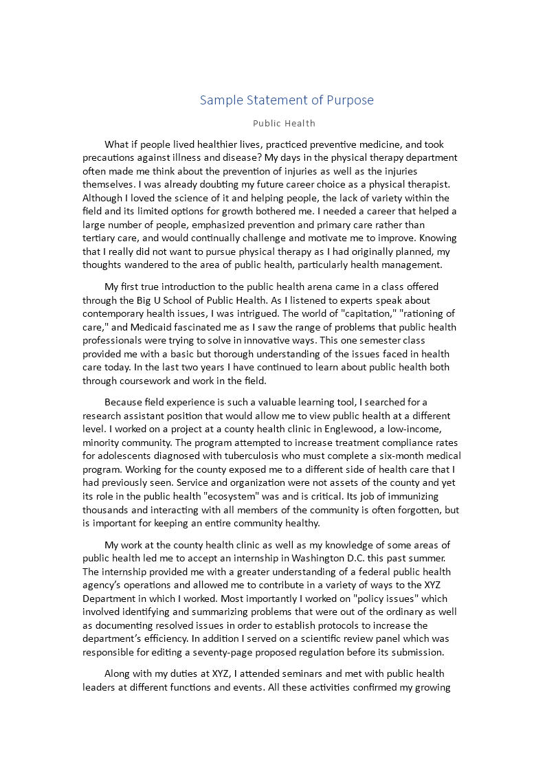 Free Statement Of Purpose Sample Sop Templates At