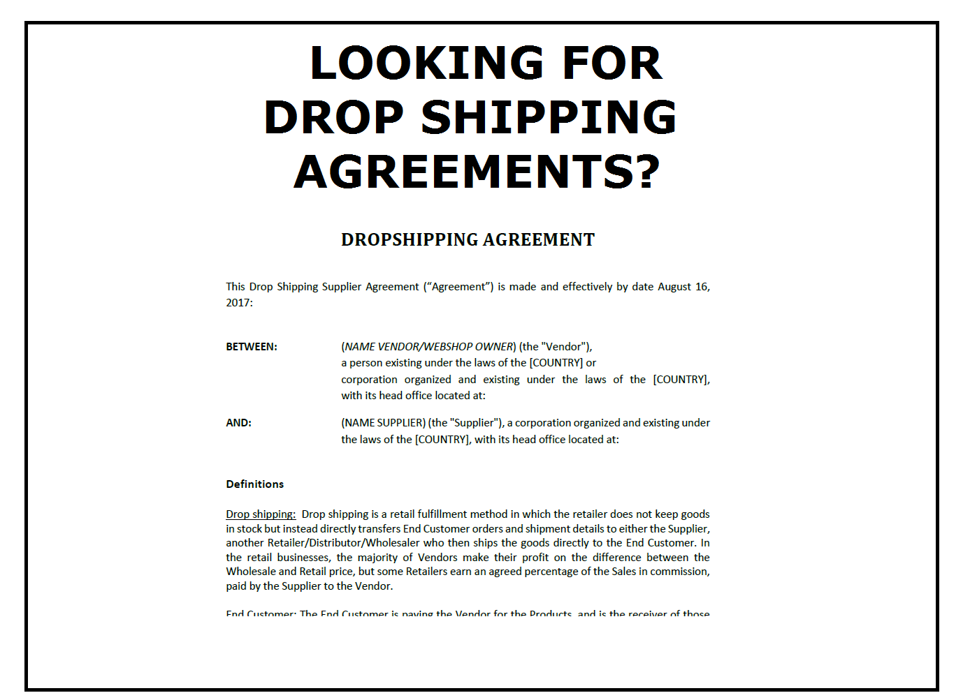 Drop Shipping Agreement