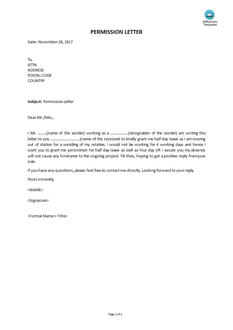 permission letter main image