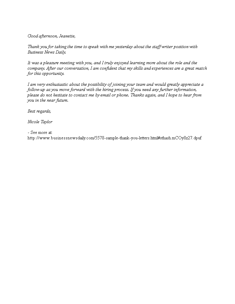 Thank You Cover Letter For Job Interview Templates At Allbusinesstemplates Com