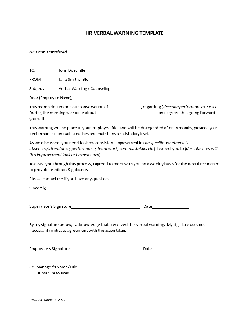 Free Hr Verbal Warning Letter Templates At Allbusinesstemplates
