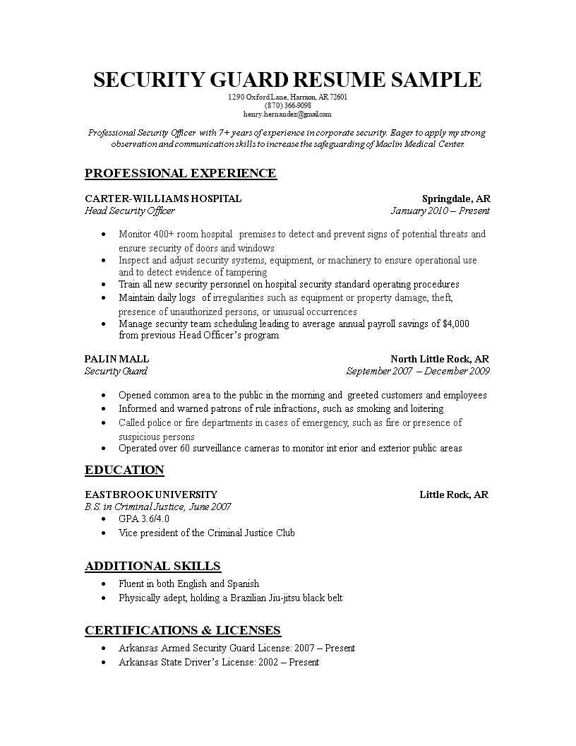 Free security guard resume templates at allbusinesstemplates security guard resume main image thecheapjerseys Images