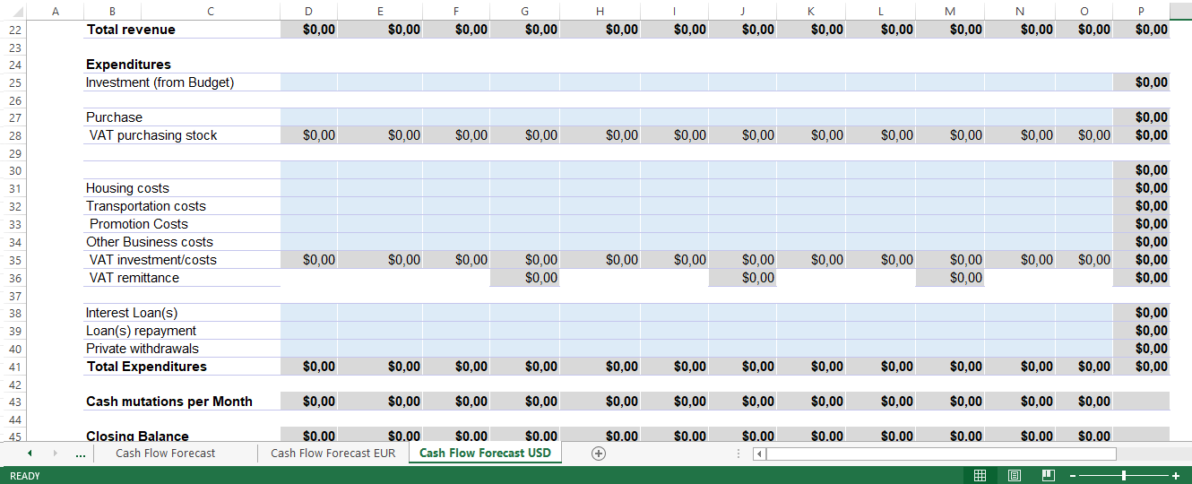 cash flow forecast in excel templates at