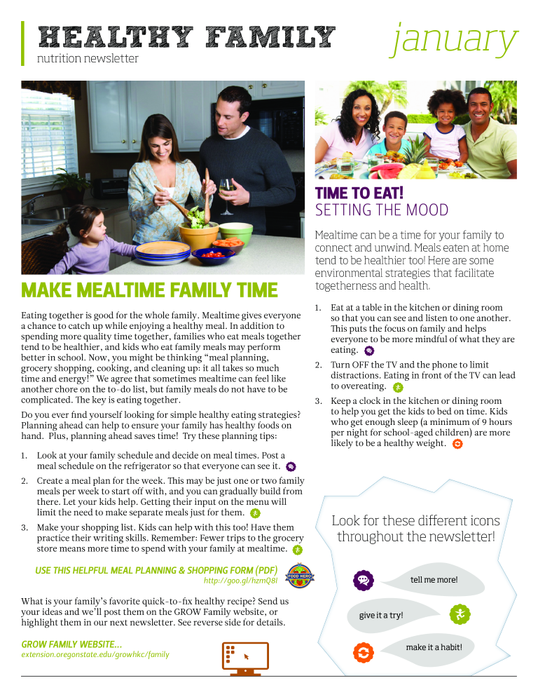 Free Healthy Family Nutrition Newsletter Templates At