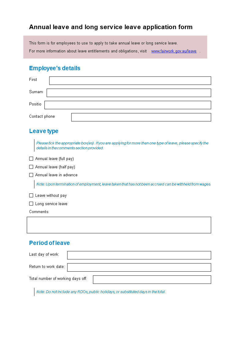 Free Leave Application Request Email Templates At