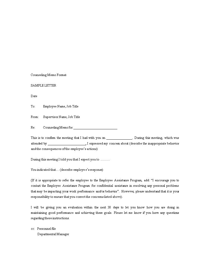 免费Counseling Memo Format | 样本文件在allbusinesstemplates.com