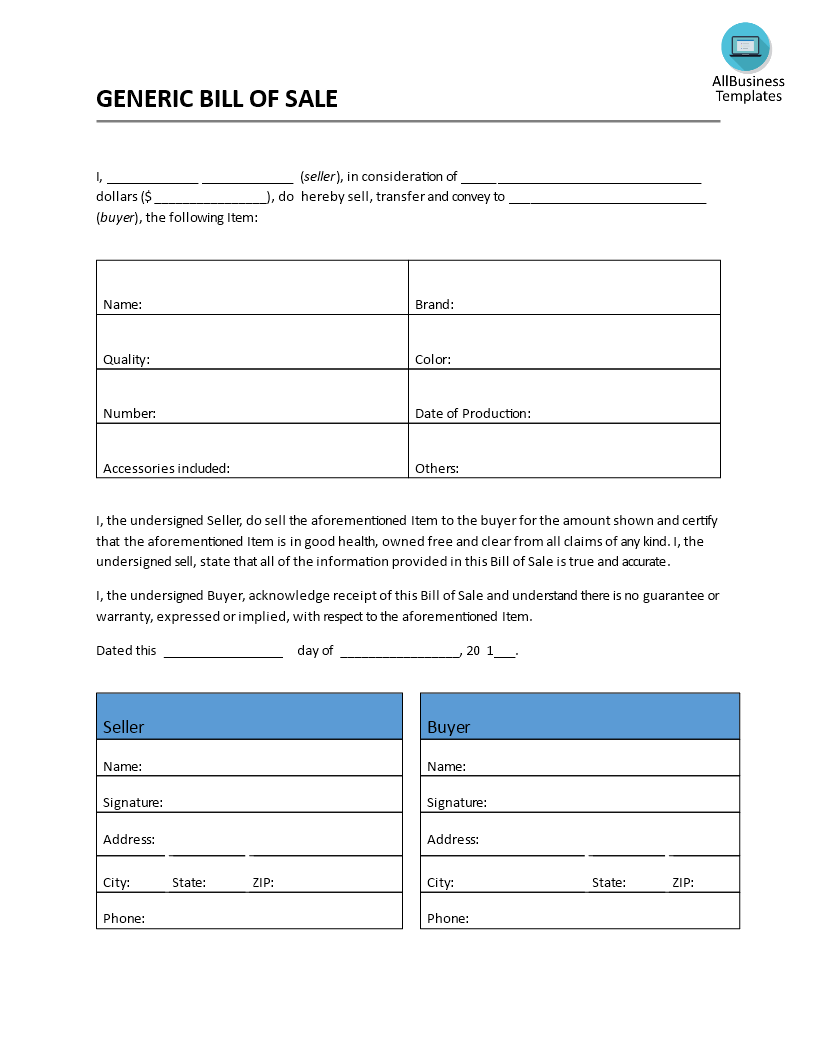 free bill of sale generic form templates at