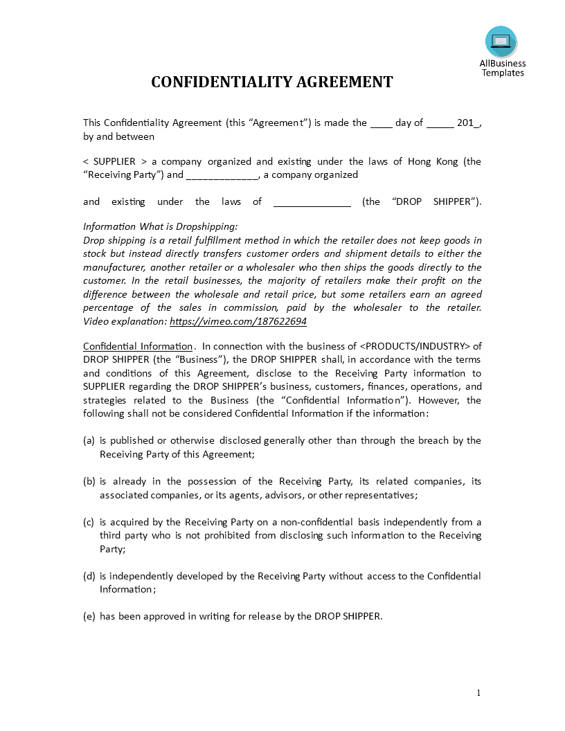 Confidentiality Agreement Drop Shipping Retailer Templates