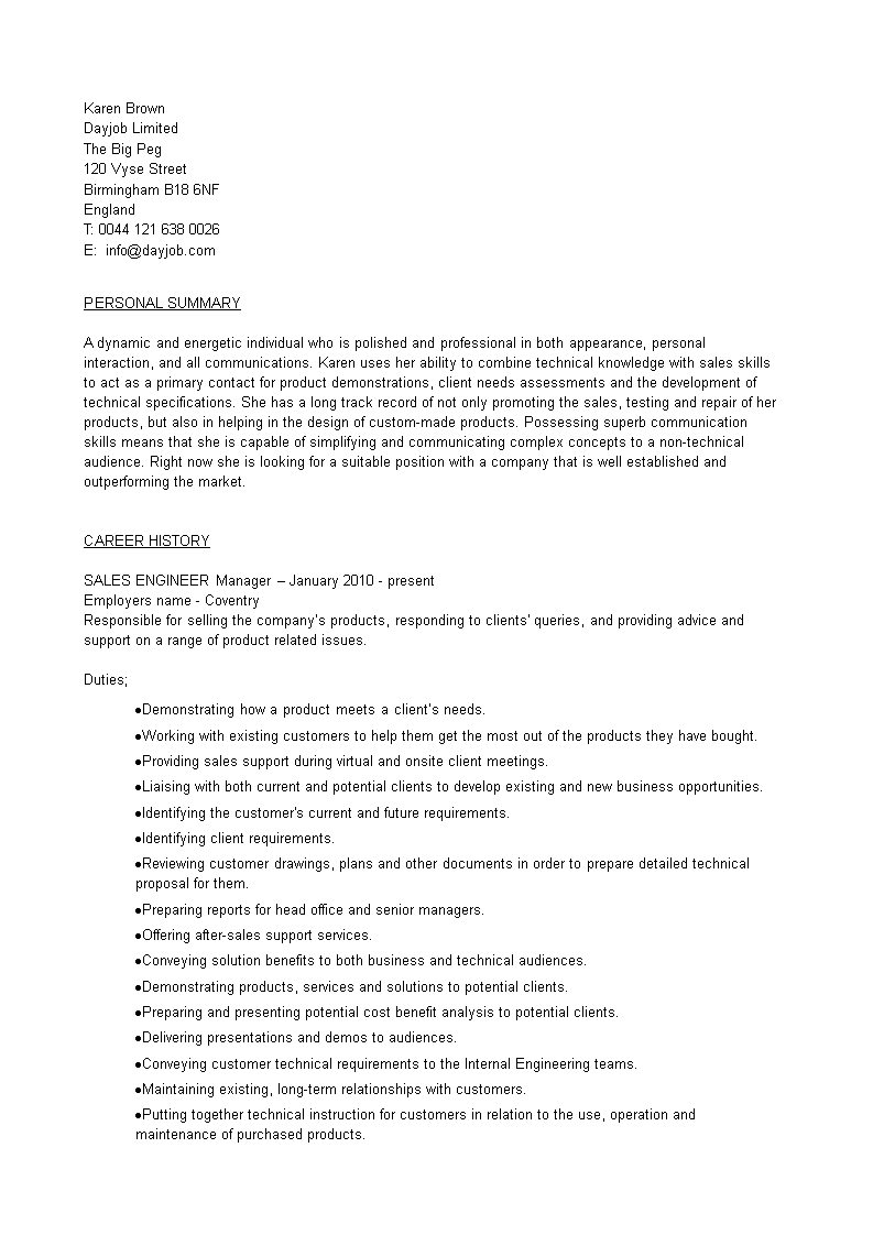 免费Sales Engineer Manager Curriculum Vitae sample | 样本文件在 ...