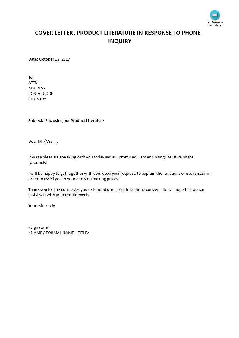 Cover letter product literature in reply to phone inquiry cover letter product literature in reply to phone inquiry main image altavistaventures Image collections