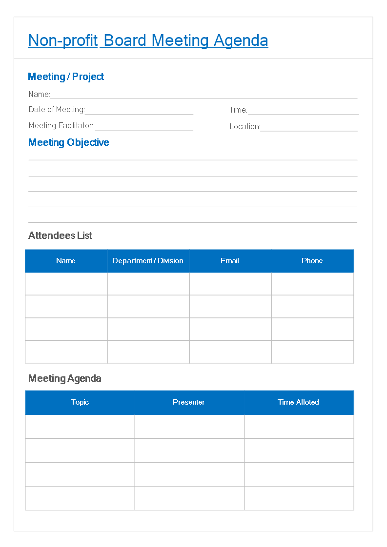 Free Non-Profit Board Meeting Agenda template | Templates at ...