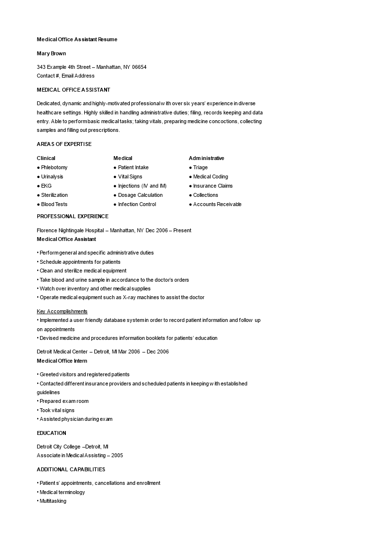 Free Medical Office Assistant Resume | Templates at ...