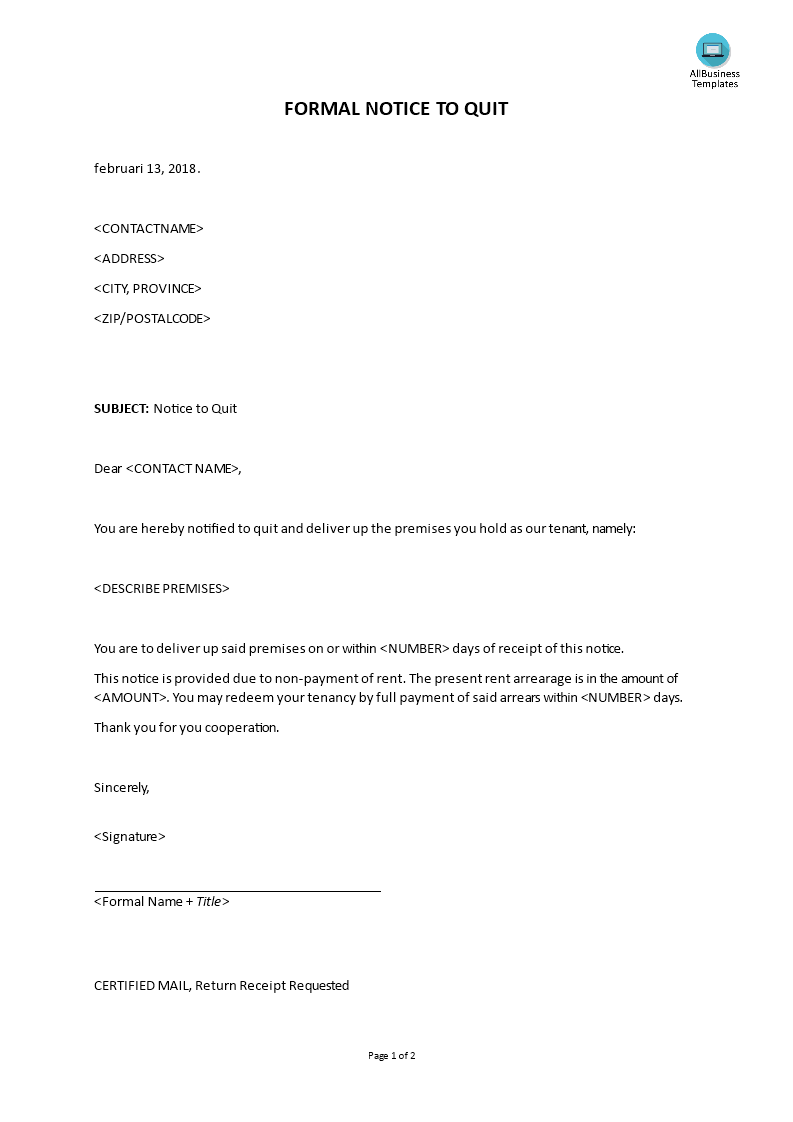 Formal Letter Notice To Quit For Non Payment Rent Main Image  Notice To Quit Letter