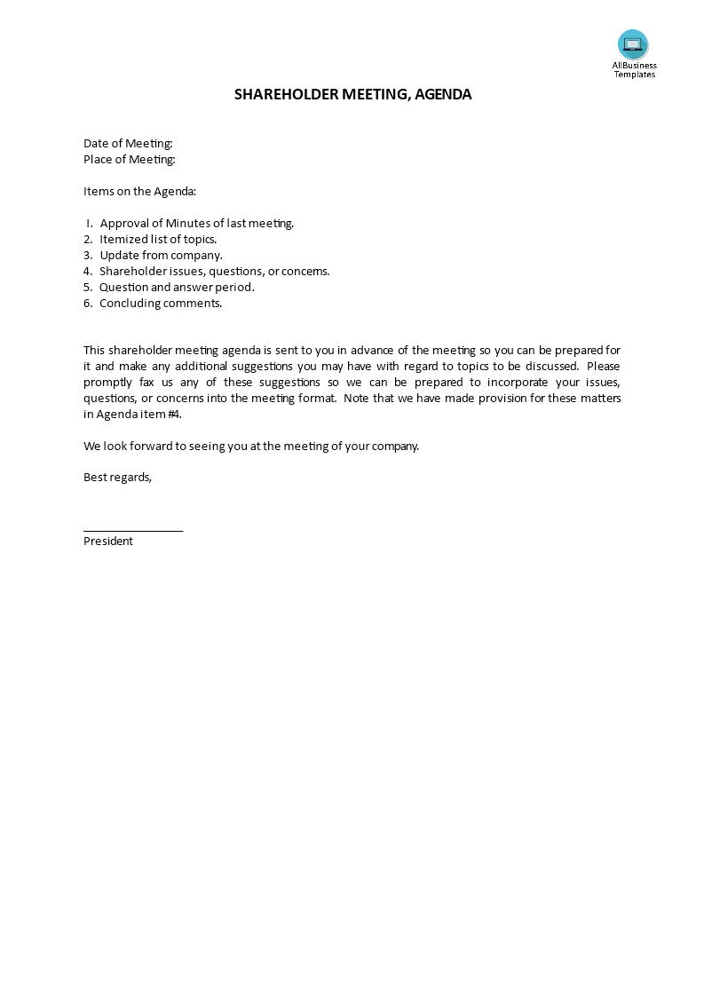 Shareholder Meeting, Agenda | Templates at allbusinesstemplates.com