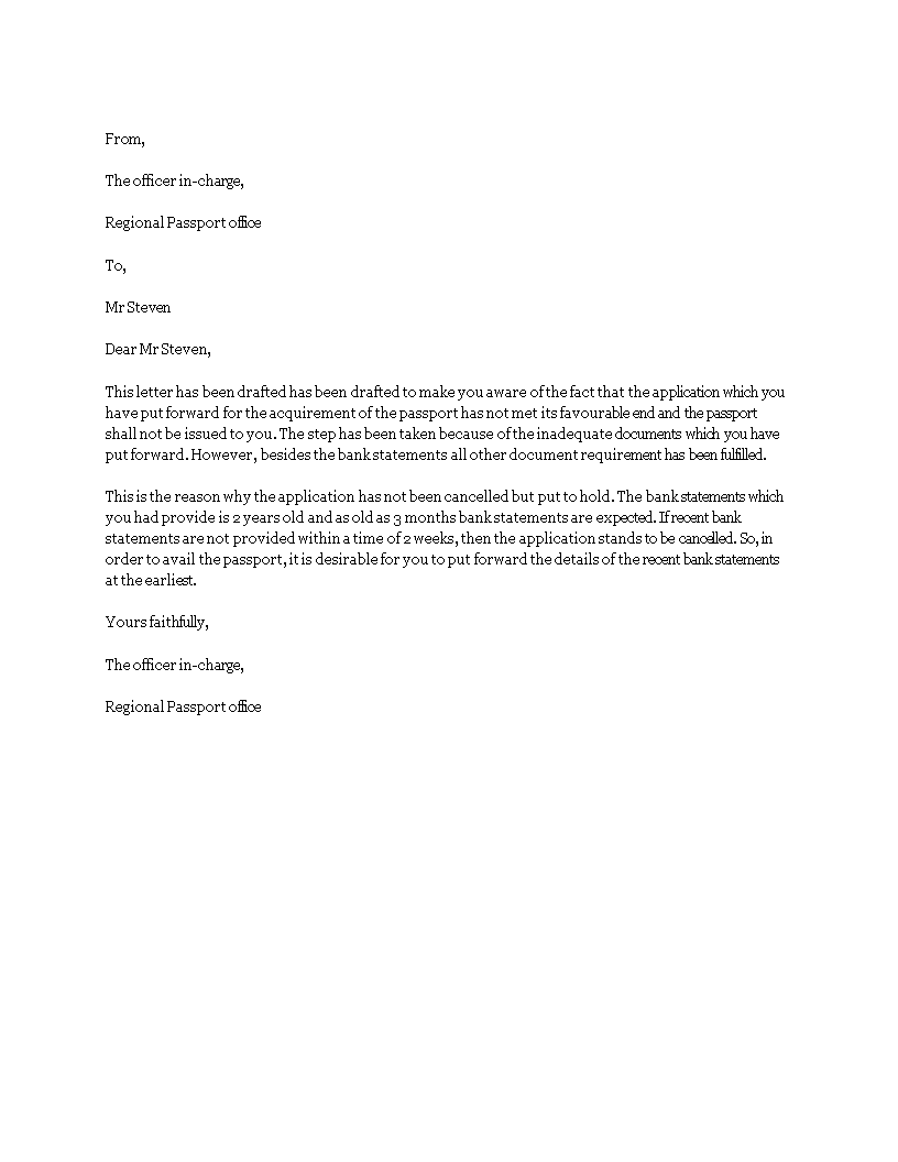 how to write letter to request for bank statement