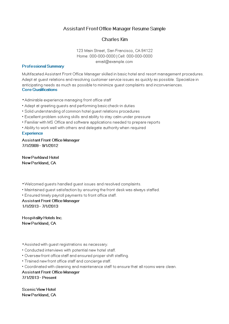 Free Assistant Front Office Manager Resume Sample | Templates at ...