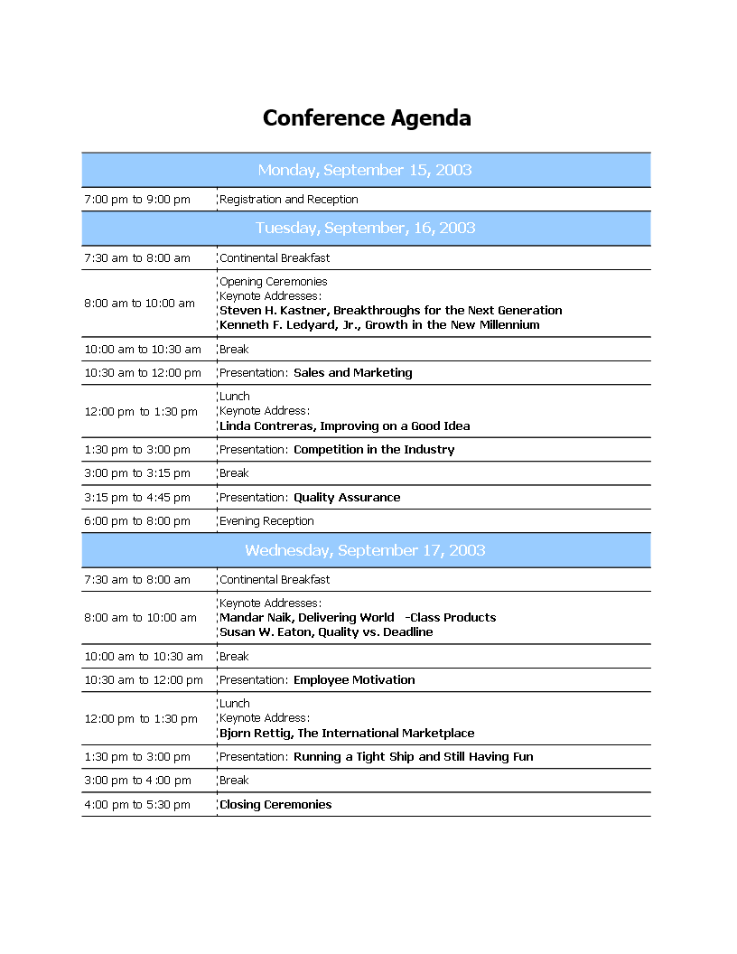 Professional Conference Agenda | Templates at ...