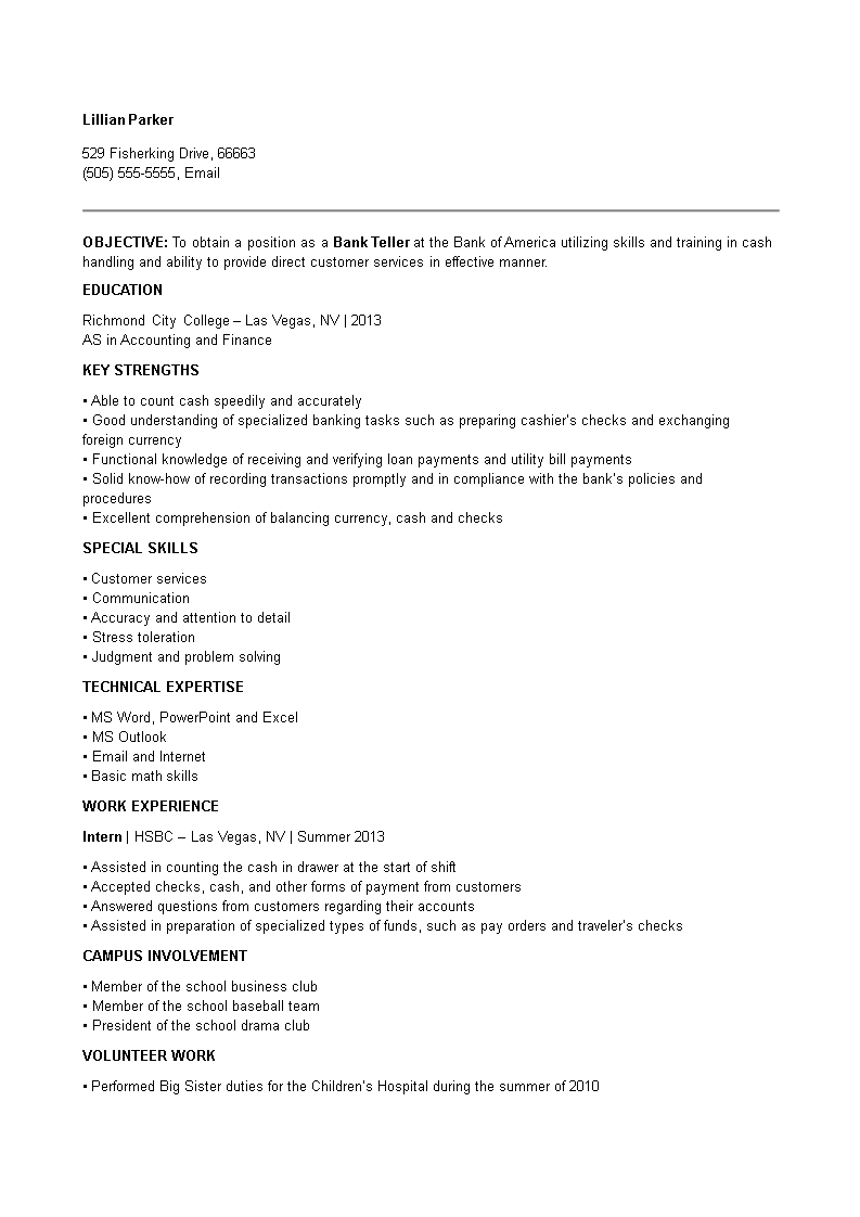 Free Retail Banking Teller Resume Templates At
