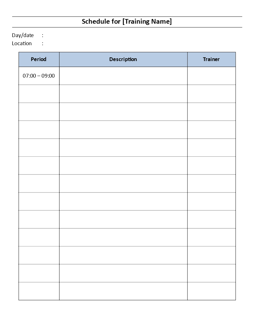 Training Schedule template main image