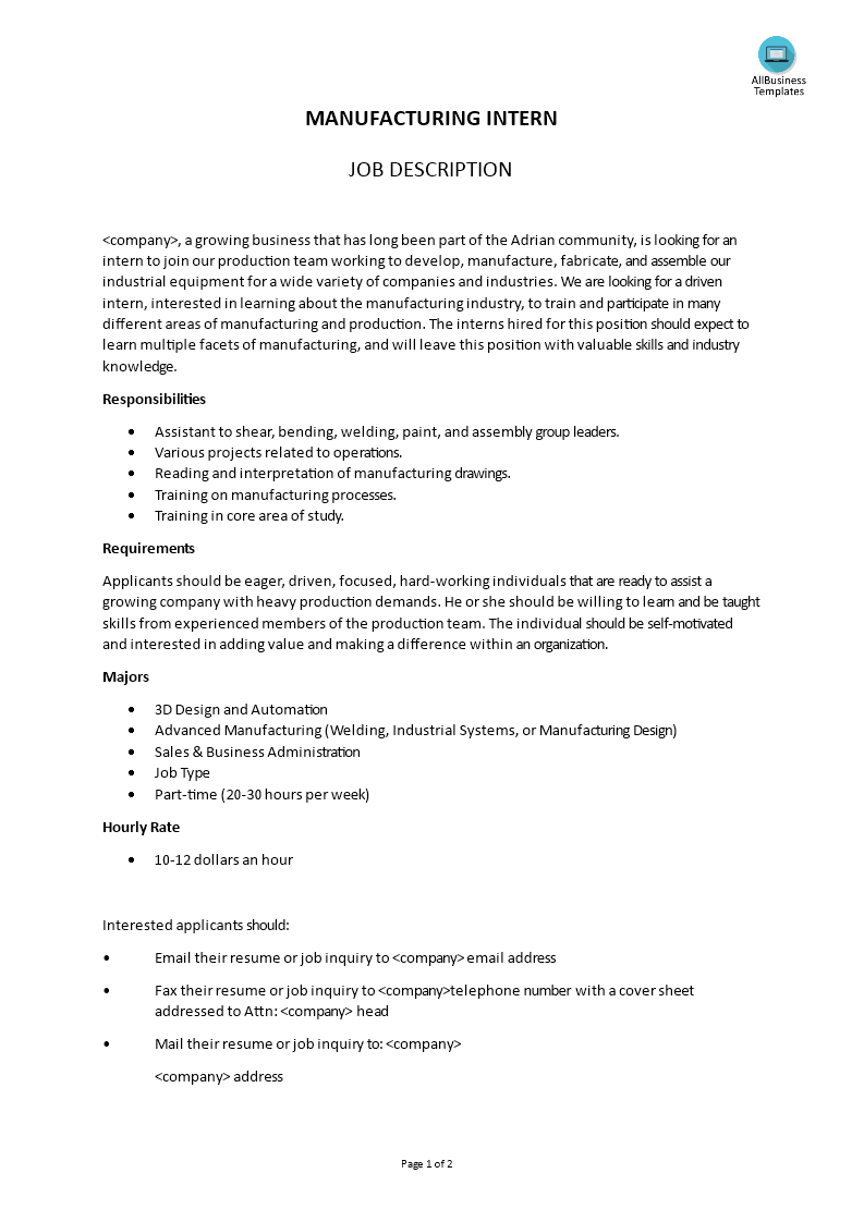 manufacturing intern job description templates at