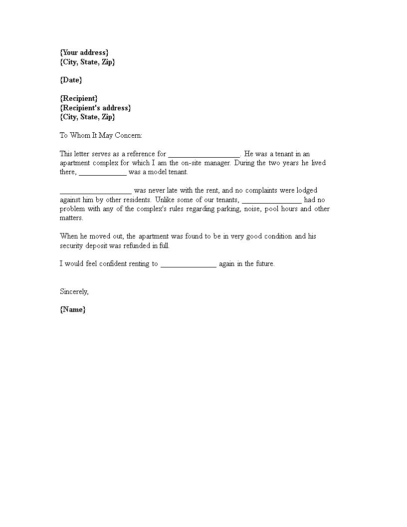 rental reference letter from property manager main image