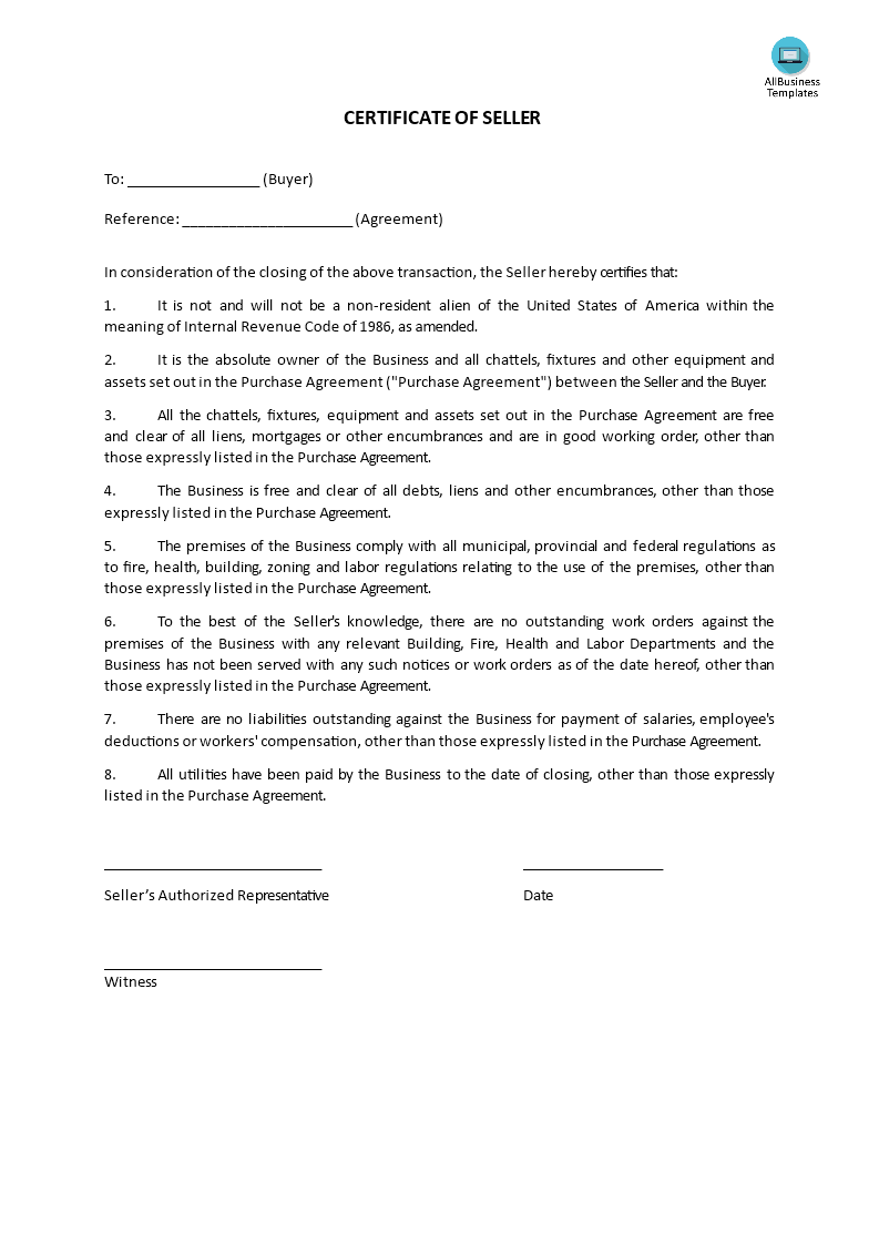Certificate of sale templates at allbusinesstemplates certificate of sale main image get template cheaphphosting Images