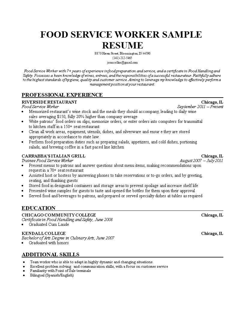 template img main - Resume Food Service Worker