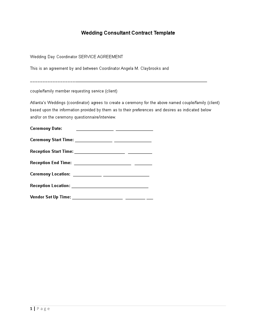 Free Wedding Consultant Contract Format Templates At - Wedding planner contract template