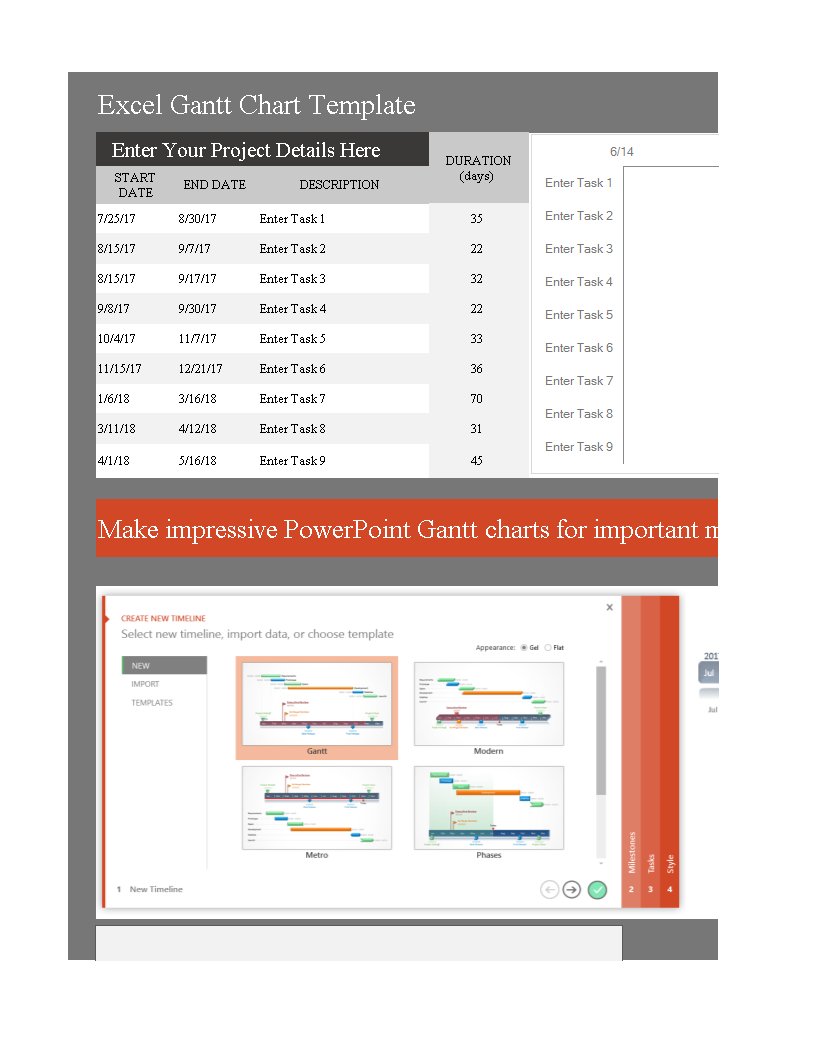free monthly gantt chart excel templates at