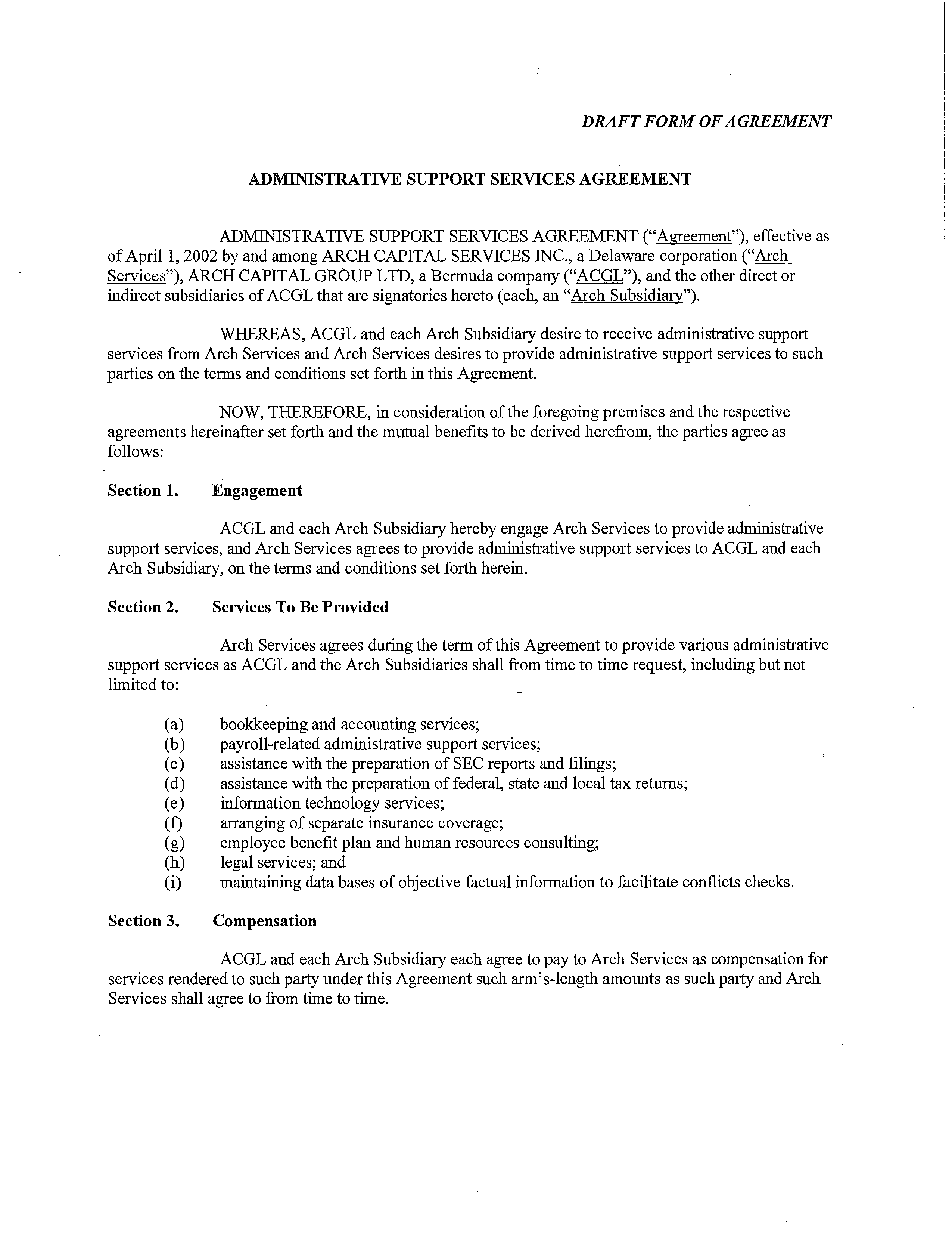 Free Administrative Support Services Agreement Templates At
