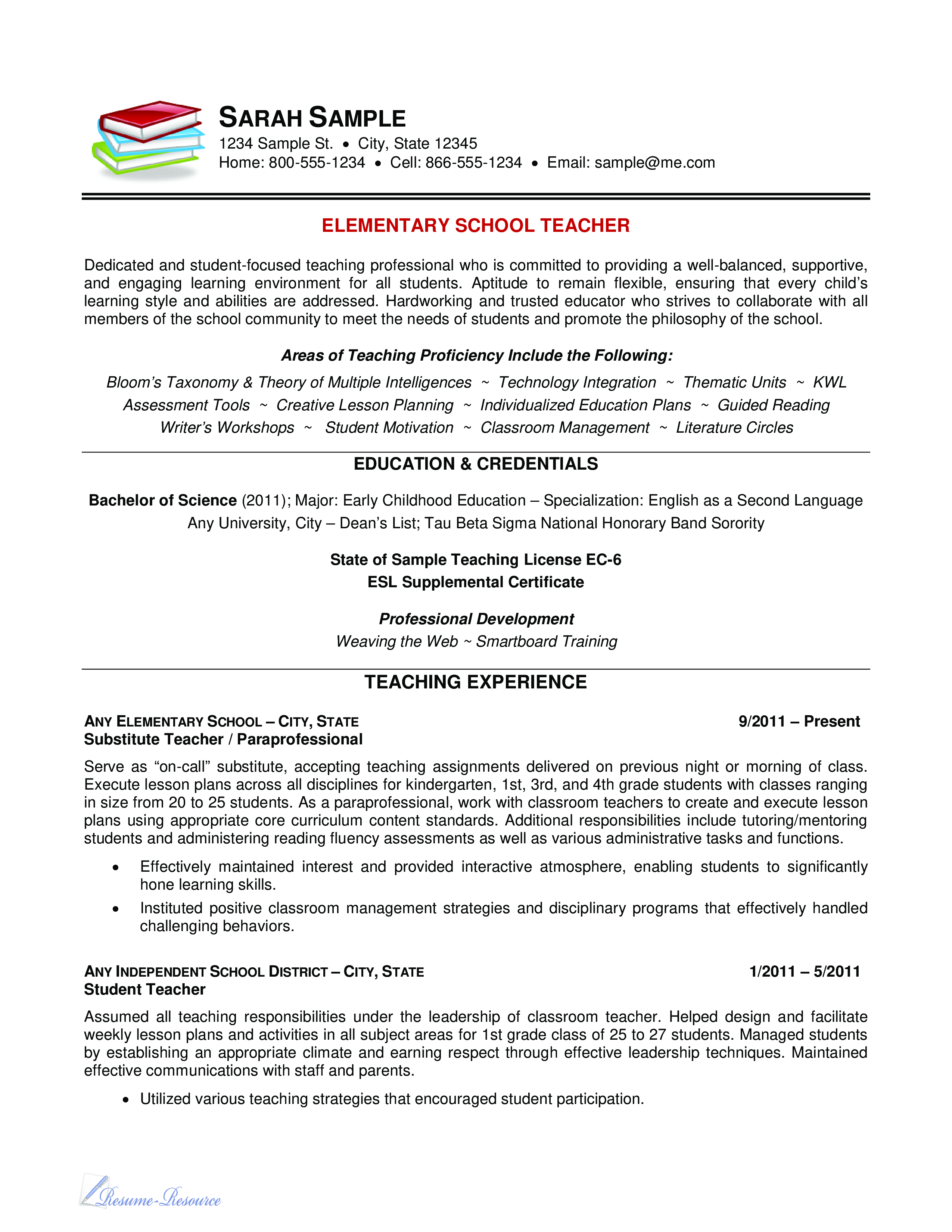 Telecharger Gratuit Elementary Teacher Resume Sample