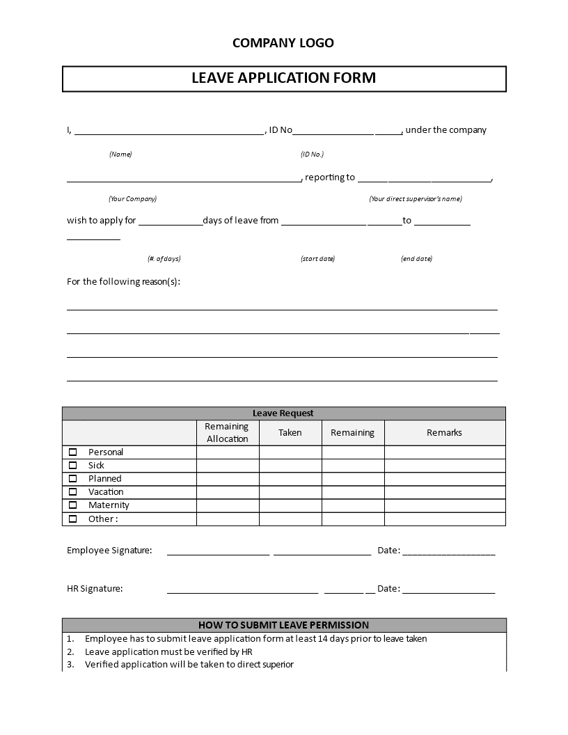Amazing Leave Application Form Template Main Image Within Application For Leave Form