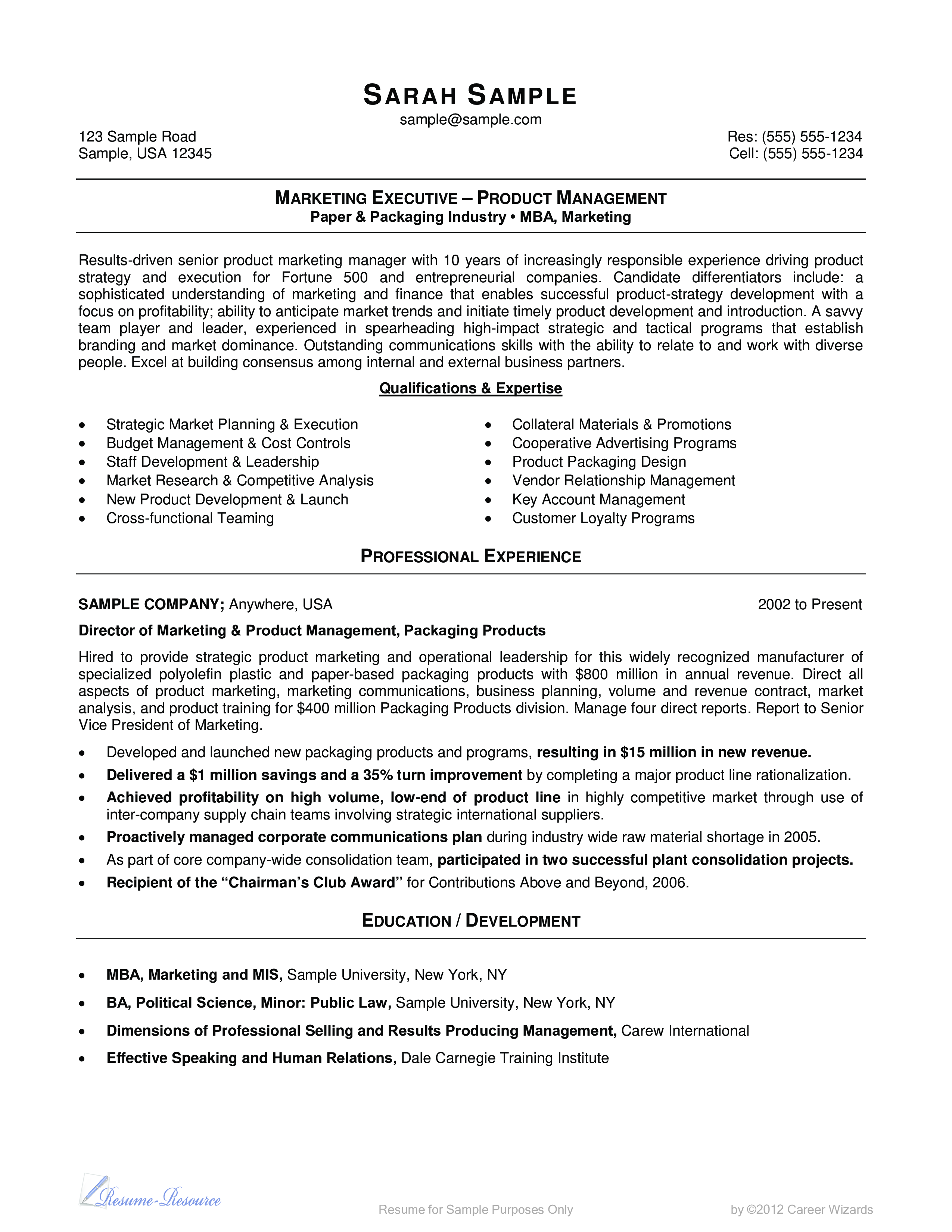 Marketing Manager Resume Format main image