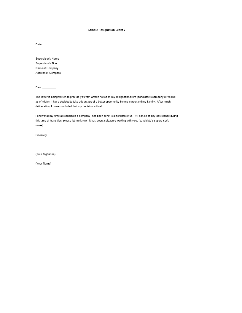 Free Resignation Letter Reason Better Opportunity Templates At