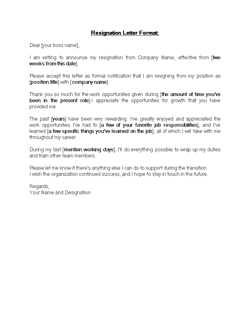 free standard resignation letter format templates at