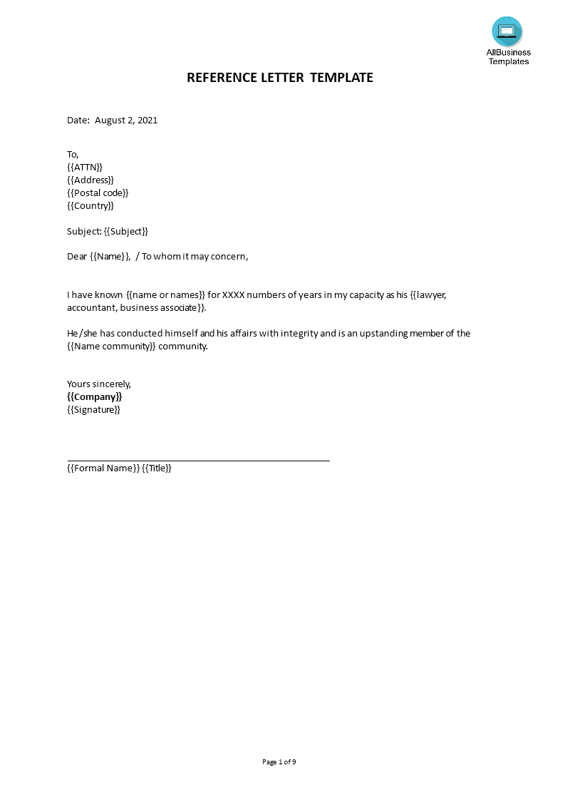 free professional reference letter templates at