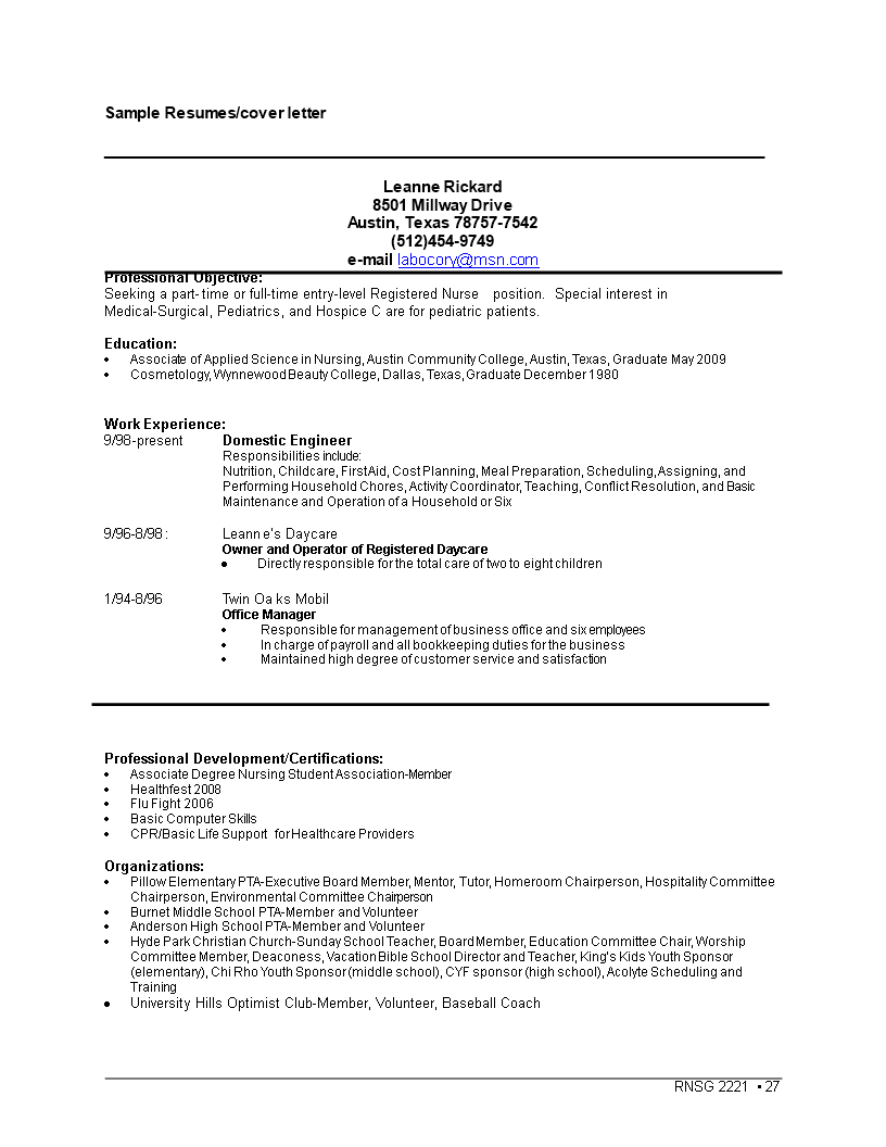 Entry Level Cover Letter For Nurse Sample Word Templates At