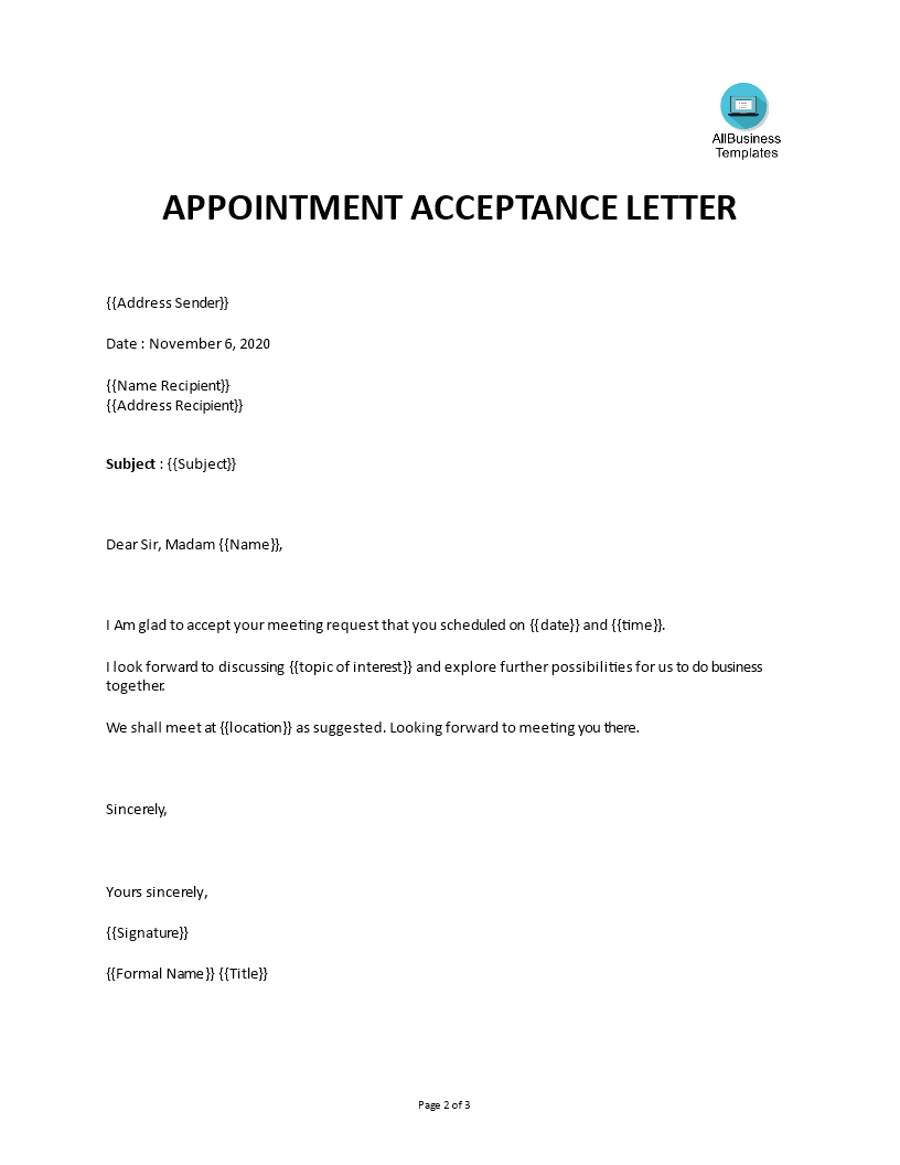 Appointment Acceptance letter main image