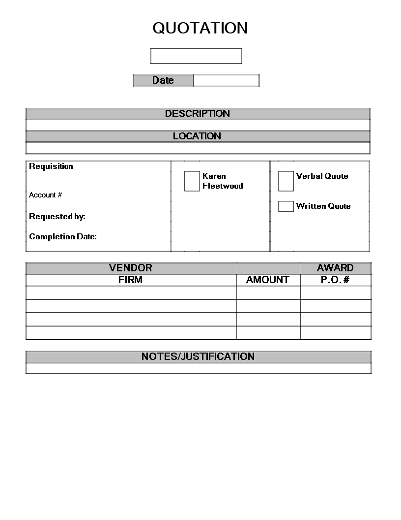 free purchase quotation format templates at