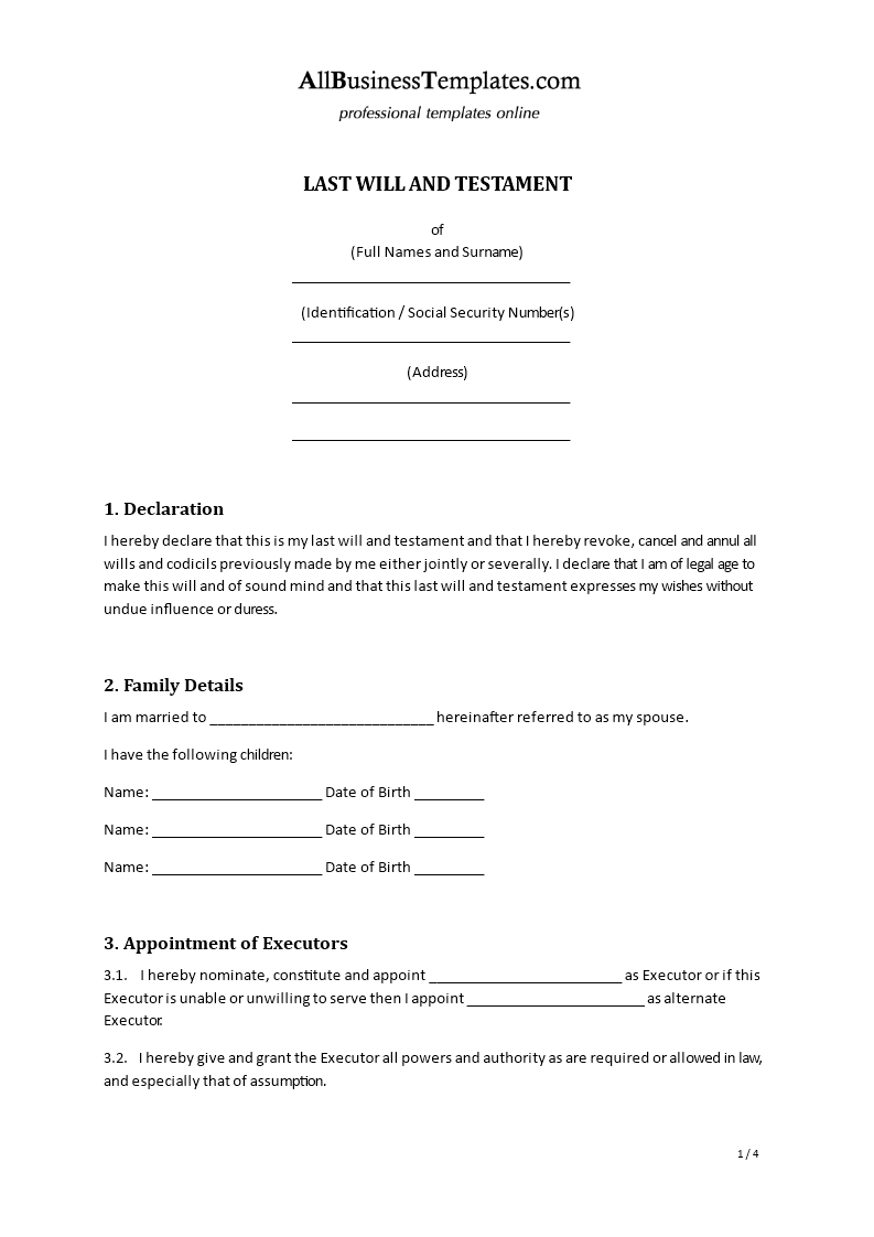 Last Will Testament Template Templates At Allbusinesstemplatescom - Final will and testament template