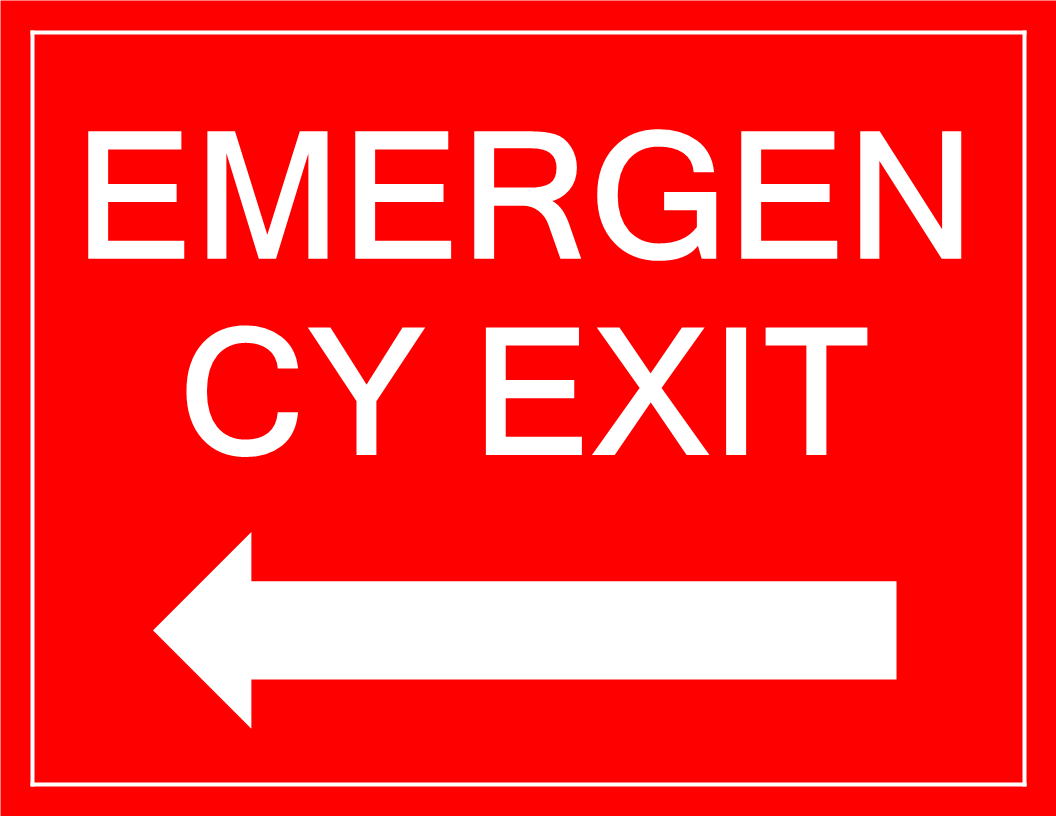 Emergency Exit sign with arrow main image