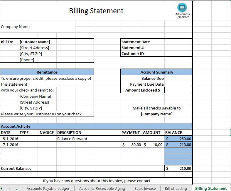 free billing statement template templates at