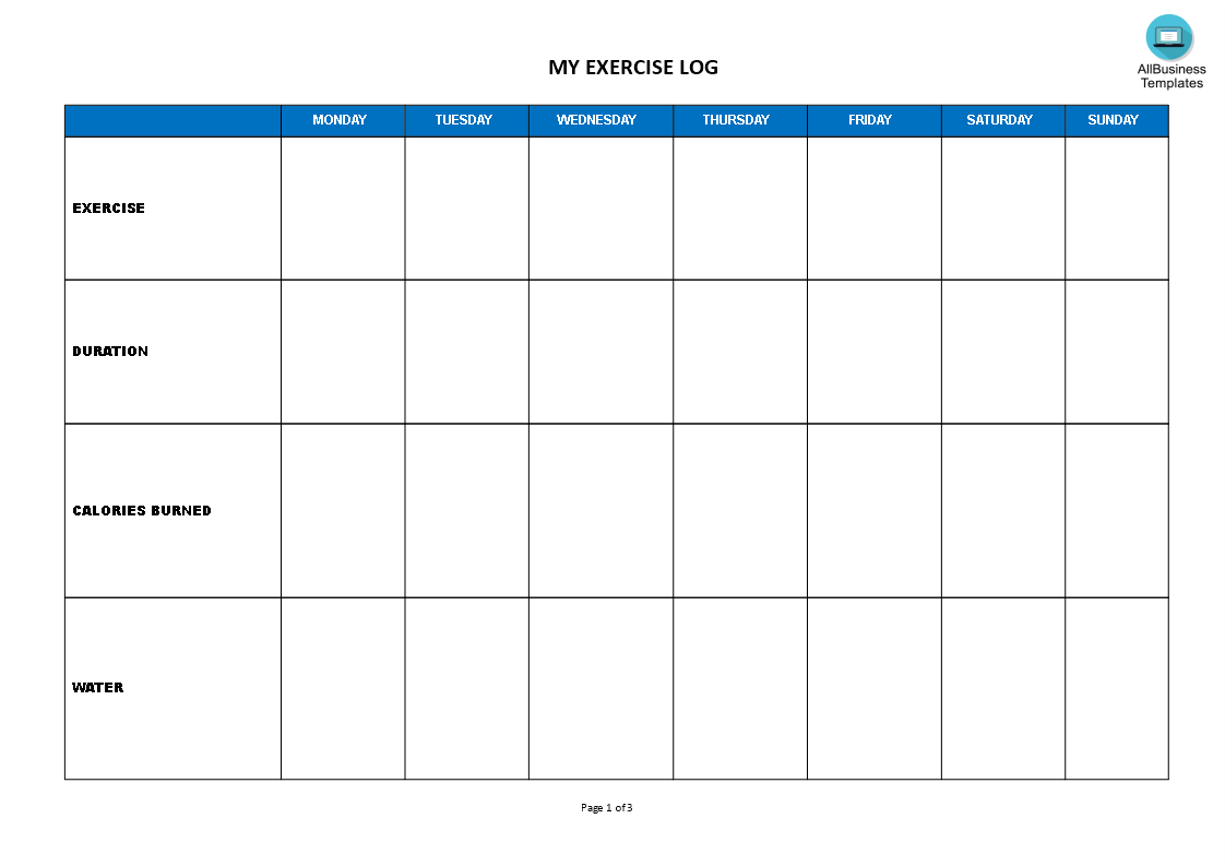 Weekly Exercise Log Main Image Template