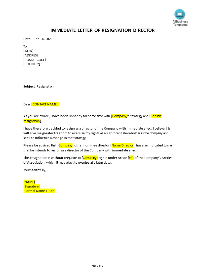 free immediate resignation letter templates at